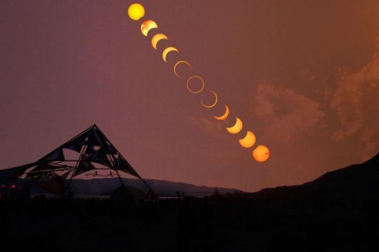An annular eclipse in progress at Pyramid Lake in Nevada, the United States, in May 2012. For the first time in two decades, a rare 'ring of fire' known as an annular solar eclipse will be visible in the sky on Boxing Day.