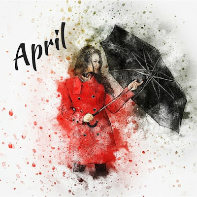 Girl in red coat holding black umbrella with the word 'April' written in the corner