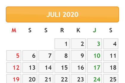 KALENDER BULAN JULI TAHUN 2020