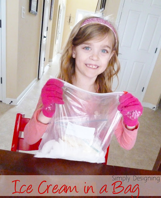 young girl making ice cream in a bag