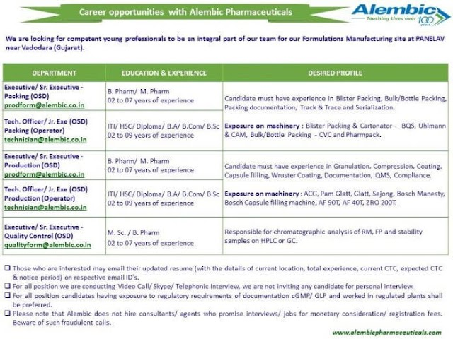 Career opportunity with Alembic Pharmaceutical in production quality control and packaging