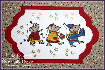 Merry Mice Stamp Set, Crumb Cake, Gold embossed stars