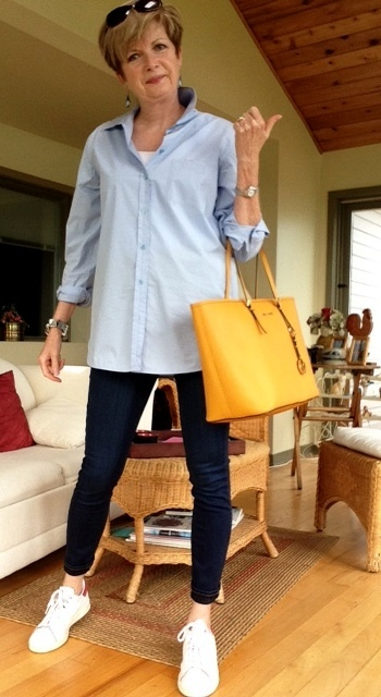 Paige skinny, jeans, Equipment shirt, Michale Kors bag, Stan Smith Adidas