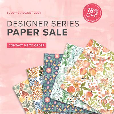 Stampin Up Designer Series Paper sale July 2021