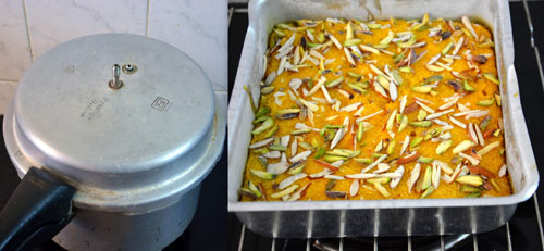 mango rava cake in cooker