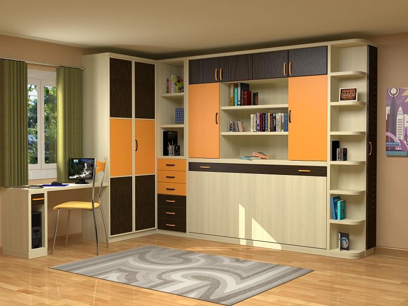 Cama abatible con 2 puertas estanteria en el medio y for Fabricantes muebles dormitorios