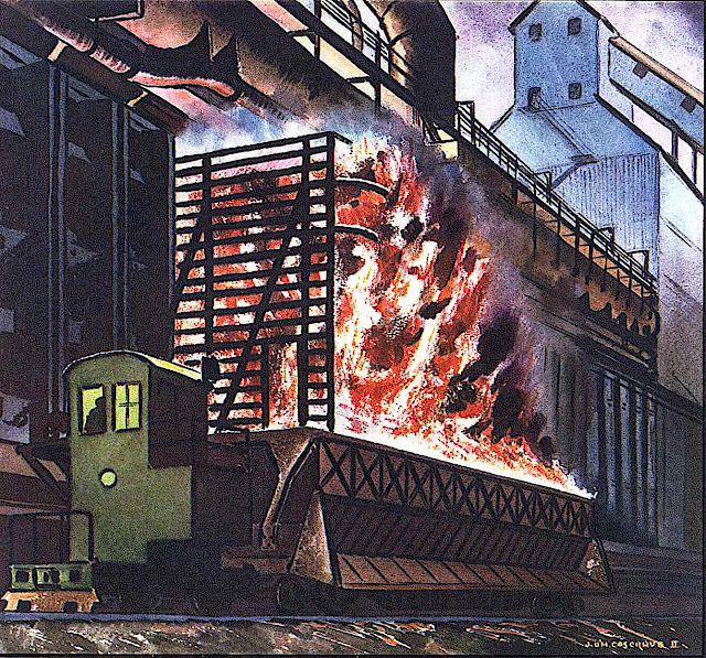 an illustration of an industrial factory by John O'Hara Cosgrave II