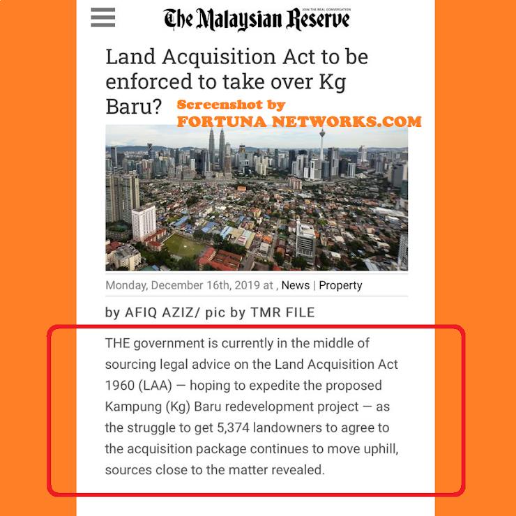 Regime PH Guna 'The Land Acquisition Act 1960' Untuk Rampas Tanah Pusaka Melayu Kampung Bharu?