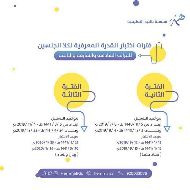 مواعيد التسجيل لـ اختبار #القدرة_المعرفية  الفترة الثانية والثالثة
