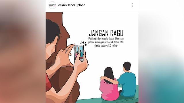 Sebuah poster iklan kampanye antiasusila di ruang publik menyebar di media sosial