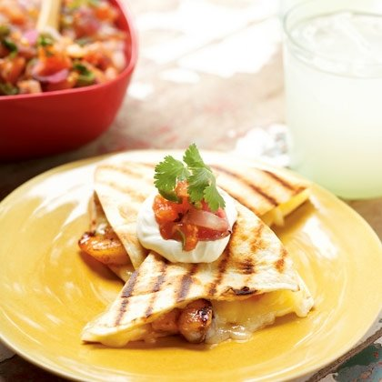 Shrimp Quesadillas with Grill-Your-Own Salsa Recipe