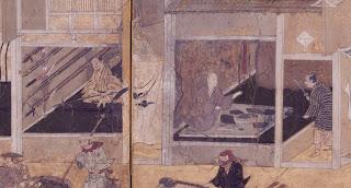 右の店には刀を手にした客と店主、左の店の壁にはたくさんの槍がかけられている