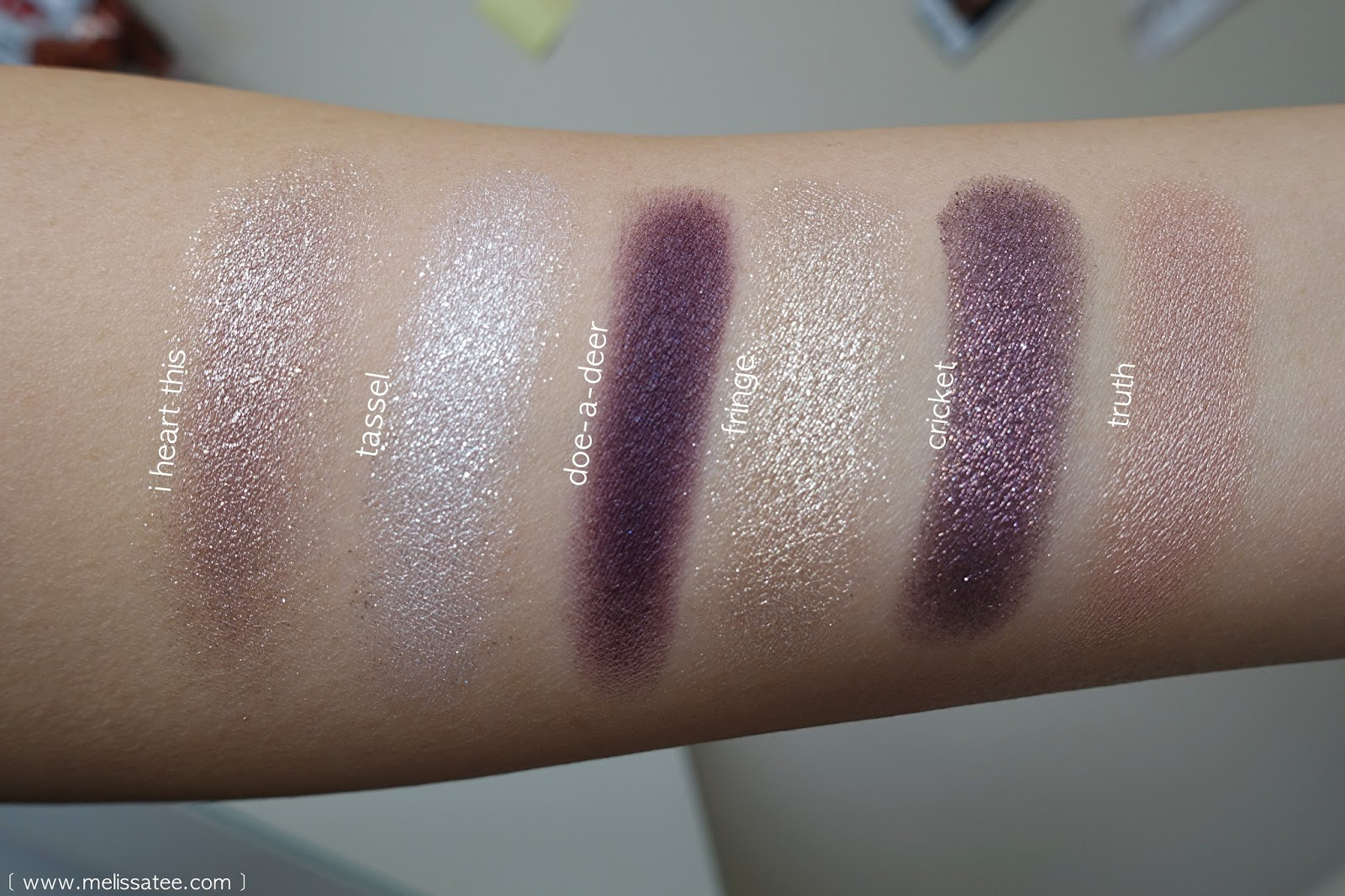 ColourPop Cosmetics, ColourPop, ColorPop, Colour Pop, Eyeshadows, Colourpop eyeshadow swatches, i heart this swatch, tassel swatch, doe-a-deer swatch, fringe swatch, cricket swatch, truth swatch