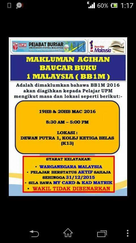 MAKLUMAT AGIHAN BAUCAR BUKU 1 MALAYSIA (BB1M) 2016