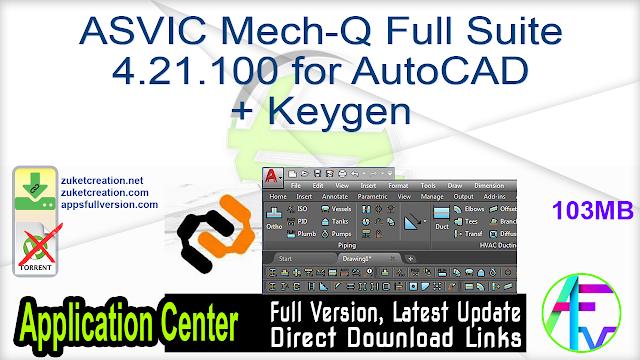 ASVIC Mech-Q Full Suite 4.21.100 for AutoCAD + Keygen