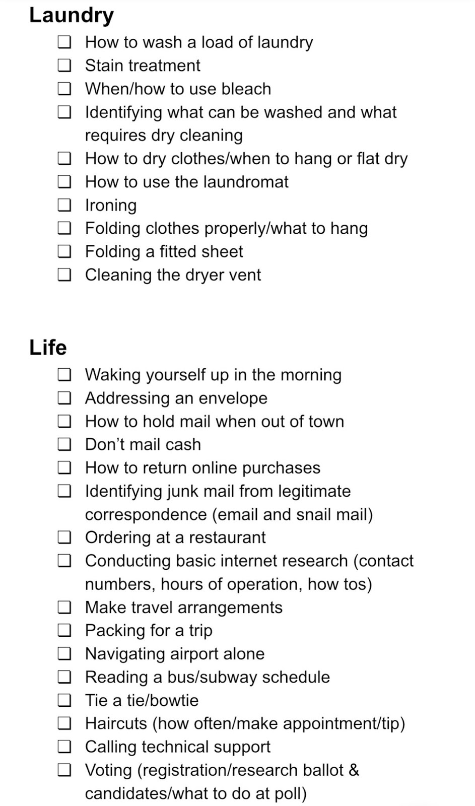 life skills topics for young adults