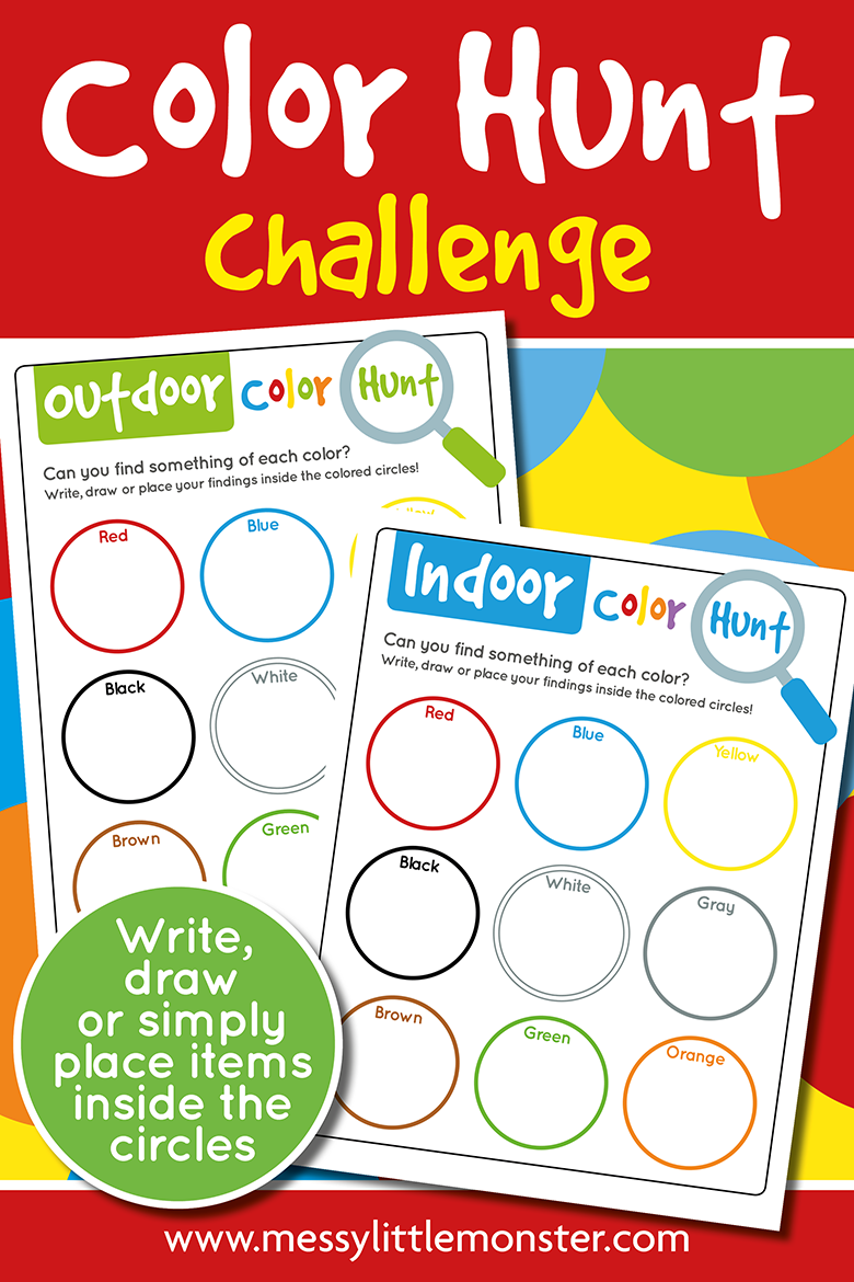 Printable colour scavenger hunt for kids. Color hunt challenge for indoors and outdoors.