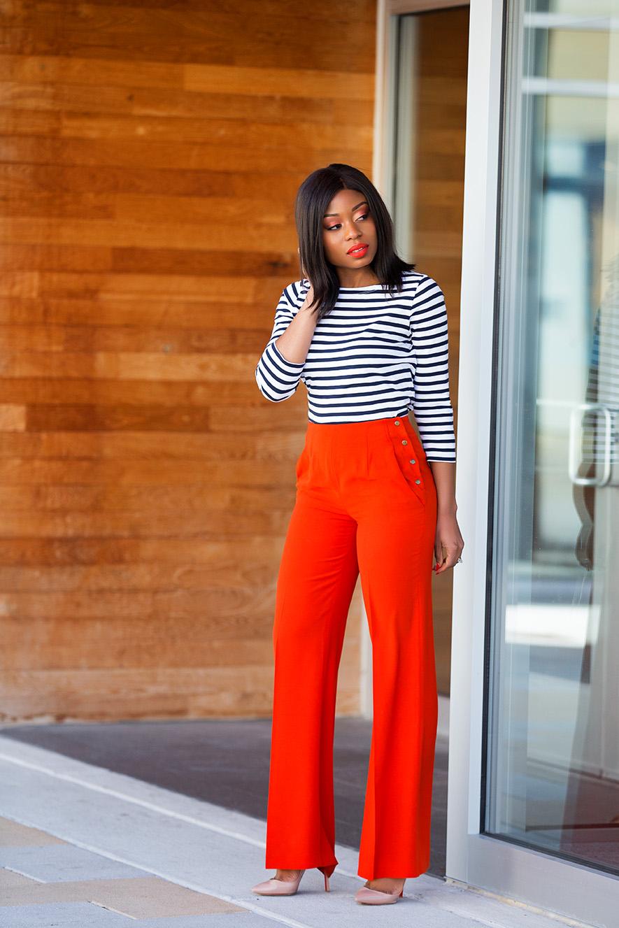 High-waisted and wide leg pants, jcrew stripe top, www.jadore-fashion.com