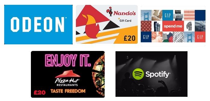 FREE MONEY at Gap, Odeon, Pizza Hut, Nando's & Spotify