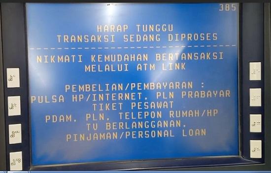 Mesin ATM Sedang Memproses