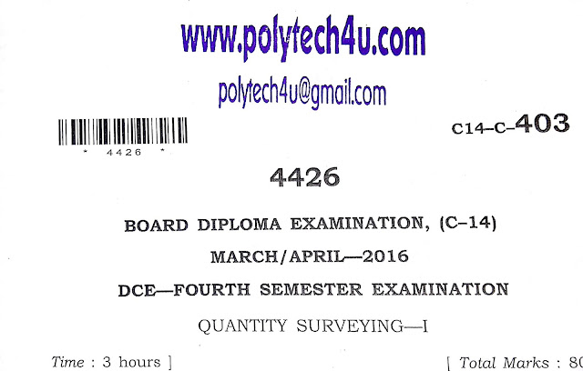 QUANTITY SURVEYING-1 SBTETAP OLD EXAM PAPER C-14 DCE
