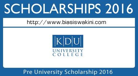 Pre-University Scholarship 2016