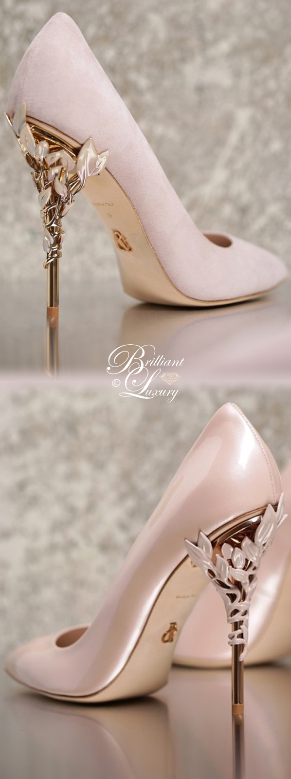 Brilliant Luxury ♦ Ralph and Russo Eden Eve Pump in Baby Pink with Enamelled Rose Gold Leaves