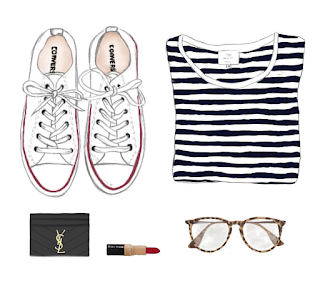 a hand drawn flatlay of white converse, tortoiseshell glasses, red lipstick, and a striped teeshirt
