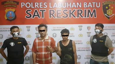 Tim 1 Unit Resum Polres Labuhanbatu berhasil mengamankan 2 pelaku pencurian kabel PLN.
