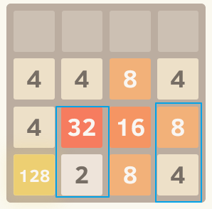 2048 upper row must be higher