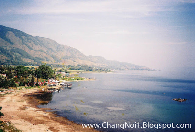 Overlooking Samosir island in Lake Toba on Sumatra, Indonesia