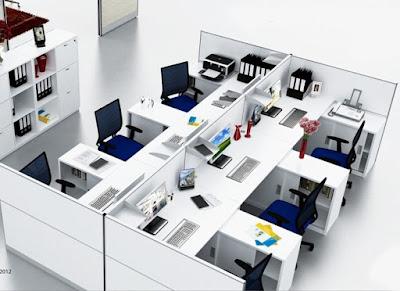 Thiết kế nội thất văn phòng hiện đại với gam màu trắng chủ đạo và vách ngăn bàn làm việc