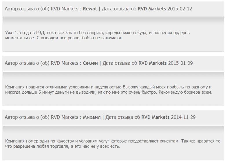 Отзывы о RVD Markets (РВД Маркетс)