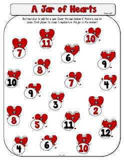 Jar of Hearts Addition or Multiplication Dice Game