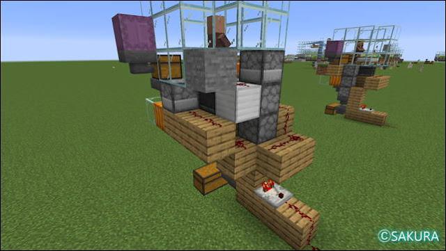 Minecraft 自動小麦畑兼取引所の配線(左)
