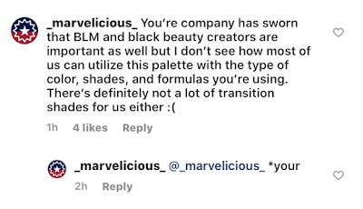 Screenshot of ColourPop Wild Nothing Collection Instagram comments