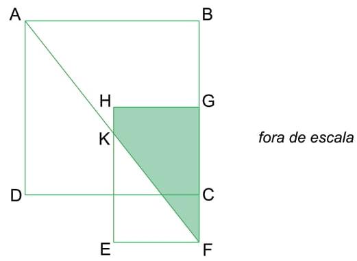 FAMEMA 2018: Considere o quadrado ABCD, de lado 4 cm, e o retângulo EFGH, com EF = 2 cm, CF = 1 cm e os pontos B, G, C e F alinhados, conforme mostra a figura.