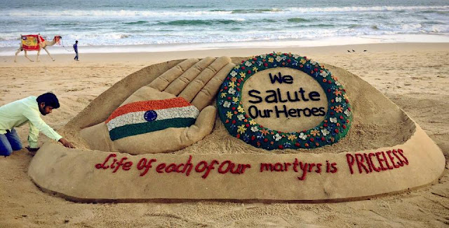 Sudarshan Pattnaik Makes Sand Sculpture on Republic Day