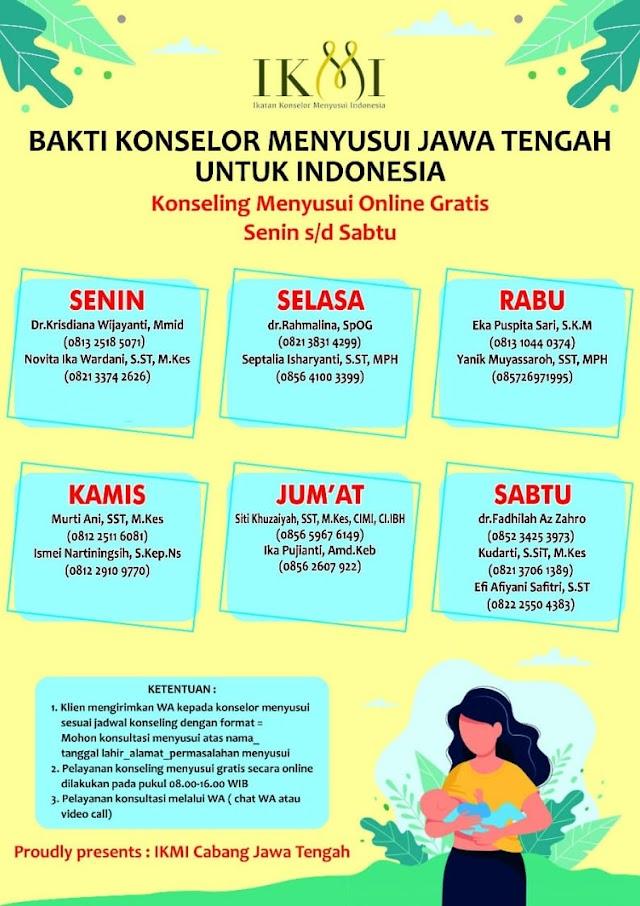 Bakti Konselor Menyusui Jawa Tengah Untuk Indonesia (Konseling Menyusui Online Gratis Senin sd Sabtu)