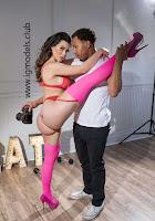 Lana Rhoades red bikini stockings striptease