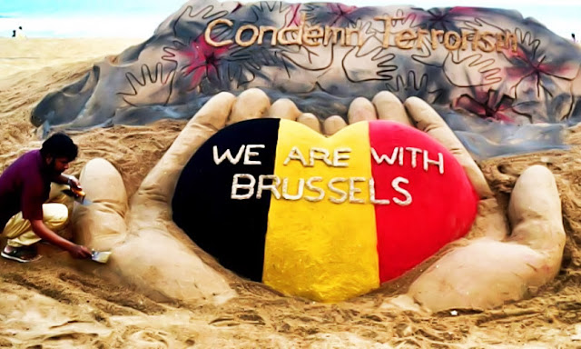 Brussels Terrorist Attack: We Are With ‪Brussels‬ - Sand Art by Sudarsan Pattnaik