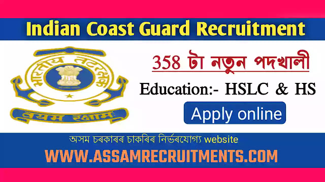 Indian Coast Guard Recruitment 2021-Apply Online for 358 Navik (DB,GD) & Yantrik vacancies.
