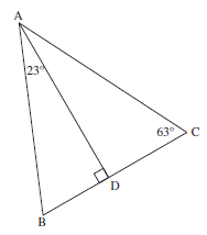 משולש ABC ובו נתונות זווית בין שתי צלעות וזווית בית גובה לצלע