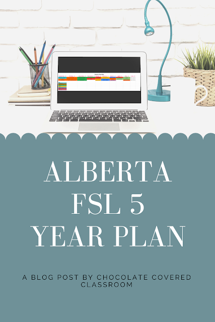 Are you a FSL teacher in Alberta looking for a simple, free french as a second language year plan? If you teach grade 5 FSL, this plan is for you. A must have freebie for 5th grade French teachers.
