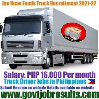 Joe Kuan Foods Company Truck Driver 2021-22