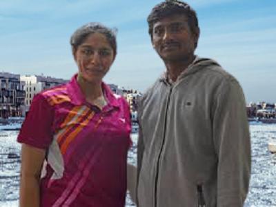 Manasi Joshi with her Badminton Trainer L. Raju.