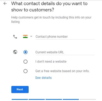 Question asking what contact details do you want to show to customers Displaying add contact number and enter website URL