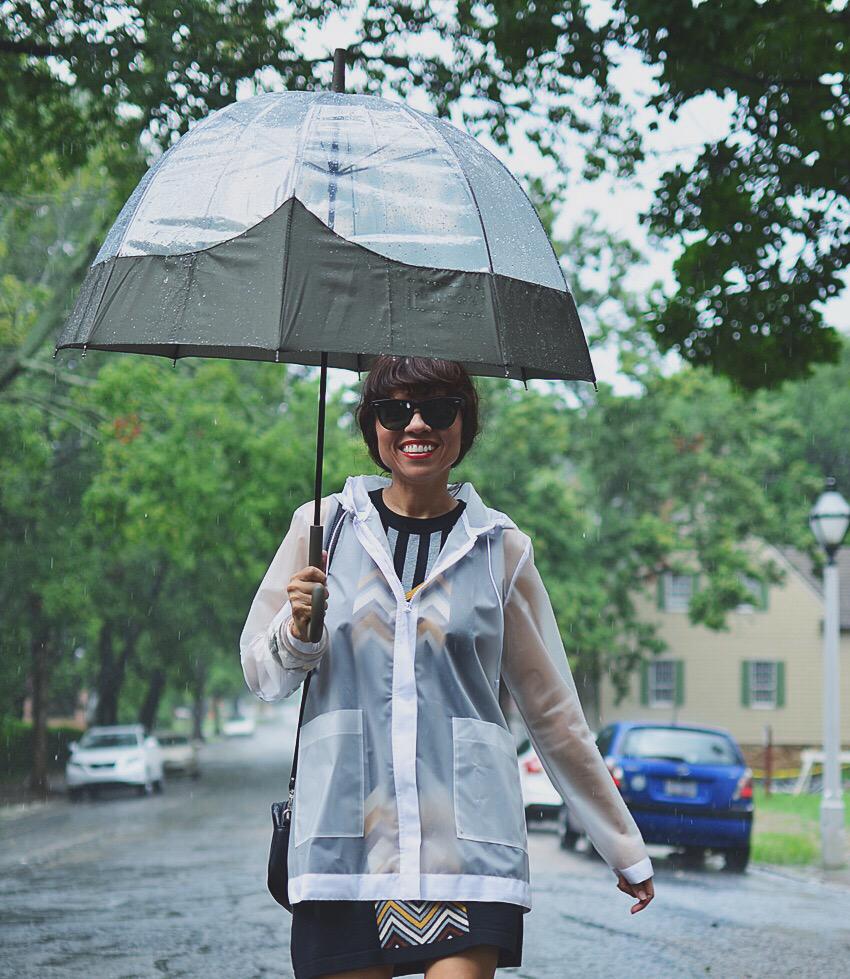 Clear rain coat street style