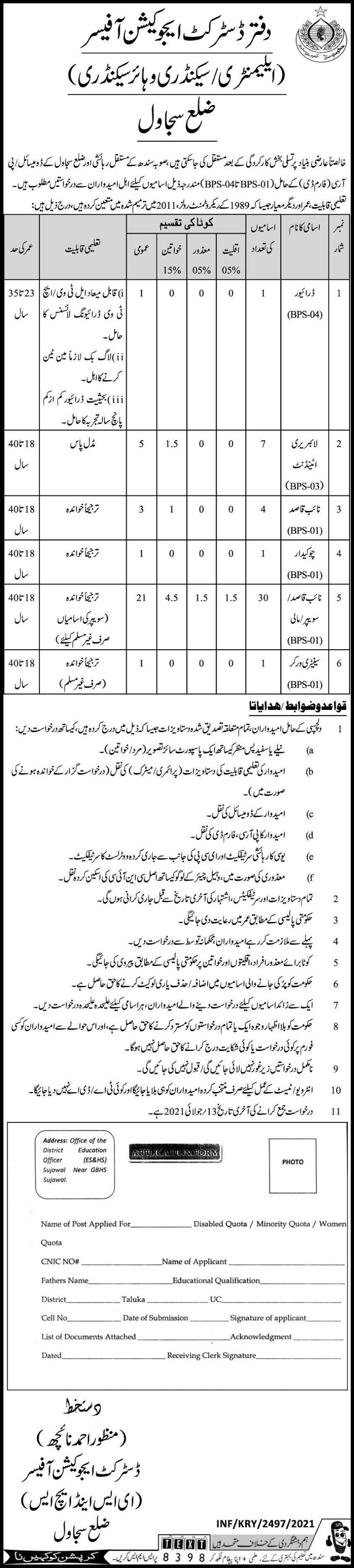 Sindh Elementary Secondary & Higher Secondary School Department Latest Jobs 2021 Advertisement - Government of Sindh Education Department Jobs 2021