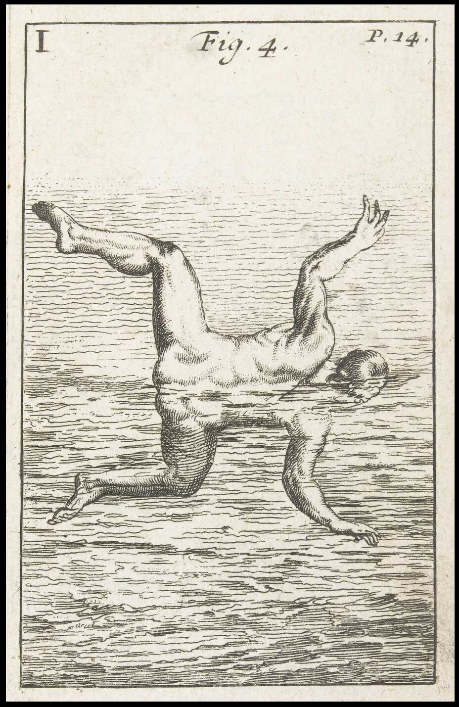 woodcut of absurdist swimming technique - b&w swimmer illustration in Melchisédec Thévenot's L'Art de Nager after Everard Digby
